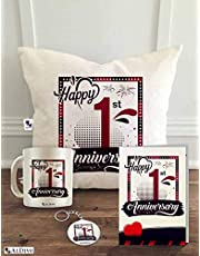 ALDIVO Happy 1st Anniversary Printed Combo Pack (12x12-inch Satin Cushion Cover with Filler, Mug, Key Ring and Greeting Card | Off-White | Standard)
