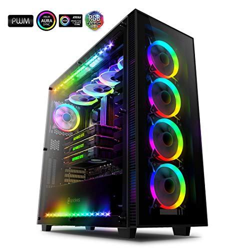 anidees AI Crystal XL RGB V3 Full Tower Gehärtetes Glas XL-ATX/E-ATX/ATX PC Gaming Gehäuse Unterstützung, 5 x 120 PWM RGB Lüfter / 2 x adressierbar RGB LED Streifen - Schwarz (NUR PC-Gehäuse)