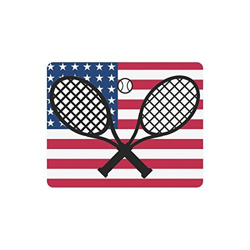N\A Fashionbale decoración para el hogar Raqueta y Pelota de Tenis Frescas en EE. UU. Bandera Americana Comodidad Funda de Tela Antideslizante Alfombrilla de ratón Rectangular