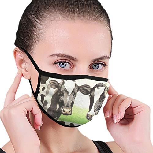 XINGAKA Gesichtsbedeckung,Milchvieh Milch Kuh Grün Grasland Weiß Schwarz,Sturmhaube Unisex Wiederverwendbar Winddicht Staubschutz Mund Bandanas Outdoor Camping Motorrad Running