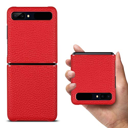 Copmob Samsung Galaxy Z Flip Hülle,Premium Echtes Leder Anti-Scratch Ledertasche Schutzhülle Handyhülle für Samsung Galaxy Z Flip 6.7 Zoll - Rot