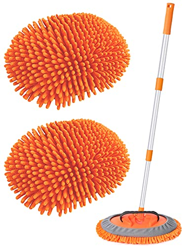 """Conliwell 2 in 1 Car Wash Brush Mop Mitt Kit, Car Cleaning Kit Brush Duster, 45"""" Aluminum Alloy Long Handle, 2Pcs Chenille Microfiber Mop Heads, Extension Pole, Scratch Free Car Cleaning Tool Supplies"""