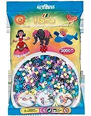 Hama Perlen 201-69 strijkkralen zak met ca. 3.000 kleurrijke midi knutselkralen met diameter 5 mm in mix 69 met 11 kleuren, creatief knutselplezier voor groot en klein