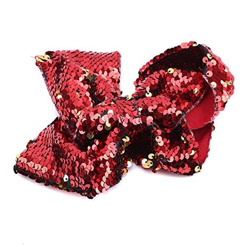 VWH Pince à Cheveux à Pinces à Cheveux à Paillettes Réversible à Double Face Avec Barrettes Accessoires pour Cheveux pour Femmes Filles(Rouge)