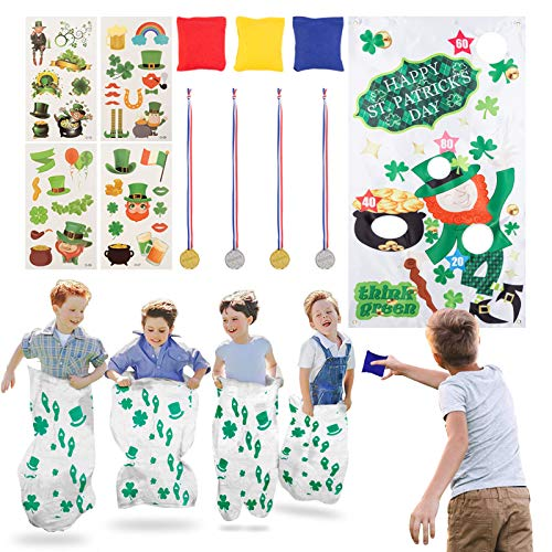 17PACK St.Patrick's Day Games for Kids with Potato Sack Race Bags, Bean Bag Toss Game, Saint Patricks Day Stickers for Family/School Classroom/Group Activities,Shamrock Party Game Supplies.