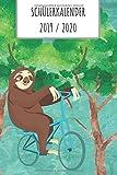 Schülerkalender 2019 2020: Schüler Kalender Faultier auf Fahrrad im Wald. 19/20. 2 Seiten = 1 Woche. Wochenkalender, Noten und Klausuren Übersicht, mit Stundenplan und vieles mehr.
