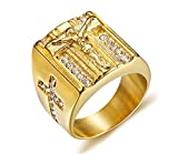 VNOX Cristal de Acero Inoxidable para Hombres Christian Holy Jesus Cross Wedding Band Signet Ring Gold