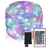 33Ft Outdoor LED Rope Lights String Lights, Christmas Fairy Lights Plug in 100 LEDs Color Changing String Lights with Remote Waterproof for Outdoor, Wedding, Party, Garden, Home Decor, 16 Colors