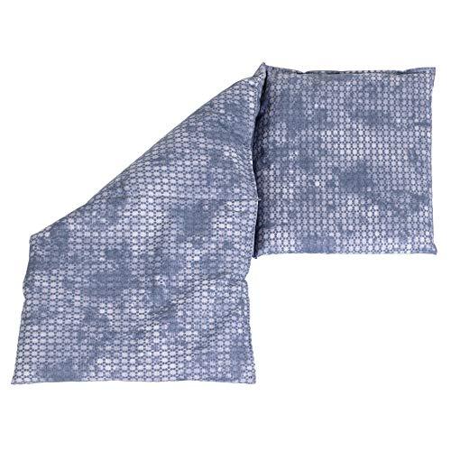 Saco térmico compartimentado en 3 con huesos de ceresas 20x50cm - Almohada térmica para microondas - Calor y frío - Cojín térmico con semillas (color: used look gris azulado)