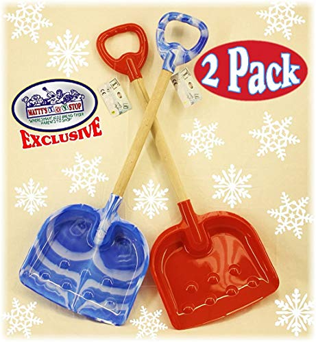 Matty's Toy Stop 28' Heavy Duty Wooden Snow Shovels with Plastic Scoop & Handle for Kids - 2 Pack (Red & Blue Swirl)