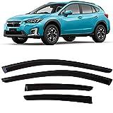 Smoke Tinted Tape-On Side Window Visor Deflectors Rain Guards Compatible with Subaru Impreza Hatchback 2017 2018 2019 2020 2021 & Crosstrek 2018 2019 2020 2021