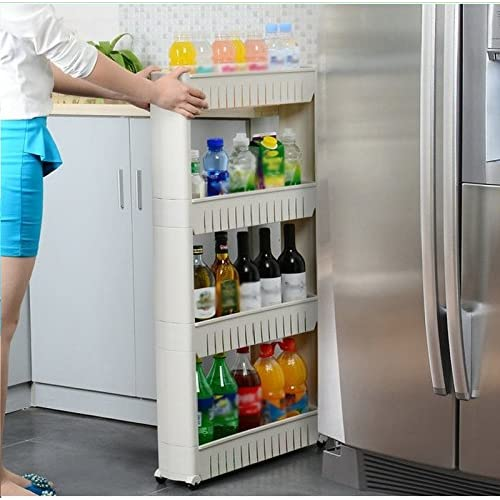 PETRICE Xayira Slim Slide Out PP Kitchen Trolley 4 Layer Rack Holder Moving Wall Cabinets on Wheels (Multicolour)