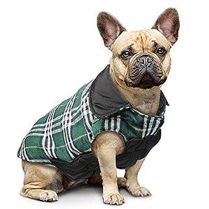 IREENUO Manteau réversible à carreaux pour chien avec capuche, manteau chaud et rembourré pour les chiens petits, moyens, grands