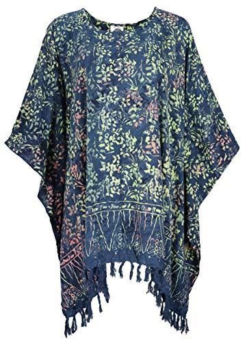 Guru-Shop Poncho, Tunika, Strandkleid, Batik Kaftan, Damen Übergröße, Blau, Synthetisch, Size:One Size, Blusen & Tunikas Alternative Bekleidung