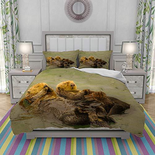REIOIYE Duvet Cover Set-Bedding,Sea Otters,Quilt Cover Bedlinen-Microfibre 140x200cm with 2 Pillowcase 50x80cm