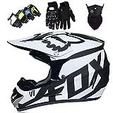 WAHA Casco Motocross Niño,Cascos de Cross de Moto Set,ECE Certificación Casco de Moto para niños Downhill,Cascos De Cross De Moto Unisex para Niños(Gafas/Máscara/Guantes),Blanco,S