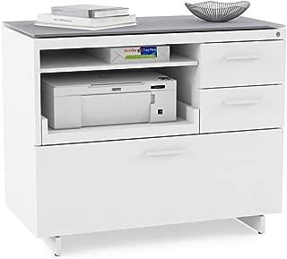 BDI Centro Multifunction File & Storage Cabinet, Satin White/Gray Glass
