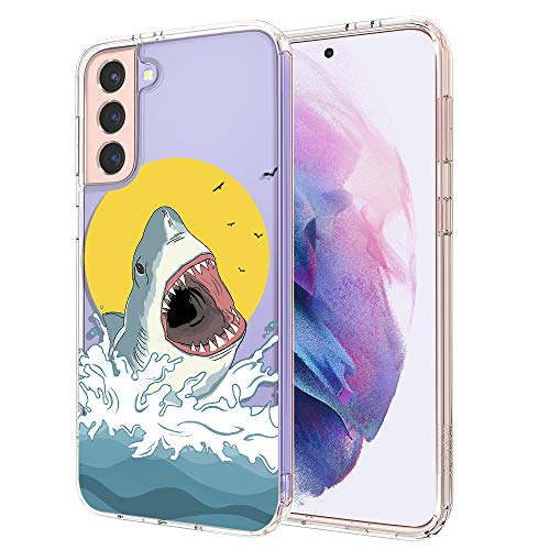 MOSNOVO Galaxy S21 Case, Cute Shark Pattern Clear Design Transparent Plastic Hard Back Case with TPU Bumper Protective Case Cover for Samsung Galaxy S21 5G