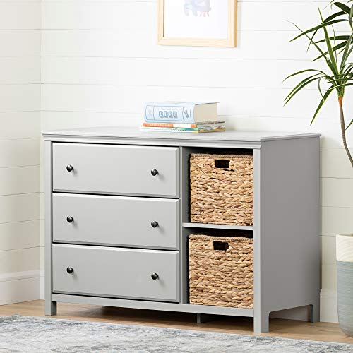 Buy Bargain South Shore Cotton Candy 3-Drawer Dresser with Baskets, Soft Gray