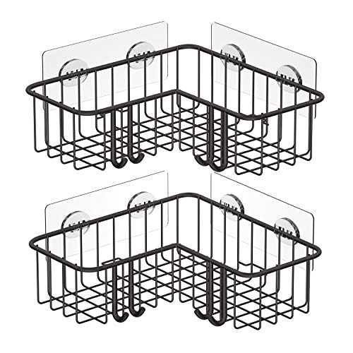 SMARTAKE 2Pack Corner Shower Caddy Adhesive Bath Shelf with Hooks SUS304 Stainless Steel Storage Organizer for Bathroom Toilet Kitchen and Dorm Only for 90 Degrees Right Angle Bronze