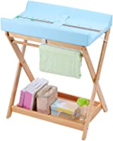 Changing Table Baby Care Station Wood Diaper Table | Multifunction Storage Foldable Nursery Massage Station for Infant | Waterproof PVC with Safety Fence