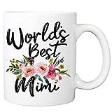 Worlds Best Mimi Mug - 11oz Coffee Cup for Grandma, Grandmother - Birthday, Mother's Day, Christmas Mug from Granddaughter, Grandson