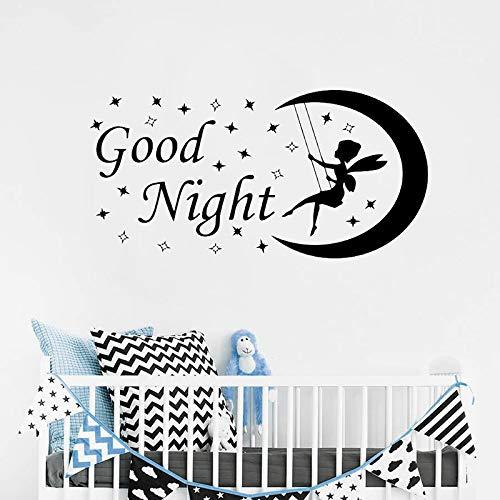 fancjj Etiqueta de la Pared de Hadas Luna Estrellas Buenas Noches Nursery Vinyl Sticker Kids Room Dormitorio Nursery Room Decor Art Poster 42x83 cm