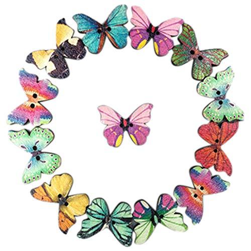 50 botones de madera para coser álbumes de recortes, multicolor, mariposa Phantom, 2 agujeros