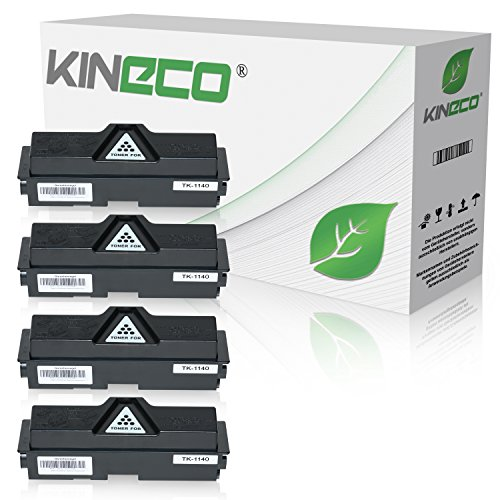4 Toner kompatibel zu Kyocera TK-1140 für Kyocera Ecosys M2535dn, Ecosys M2035dn, FS-1035MFP/DP, FS-1135MFP, Schwarz je 7.200 Seiten