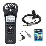 Zoom H1n Grabadora digital práctica (Negro) con Rode smartLav+ micrófono de condensador, SC3 3,5 mm TRRS-TRS adaptador y batería AAA (Paquete de 4)