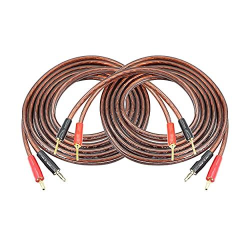 MEIRIYFA Cable de altavoz HiFi OFC con conector banana a clavija de 4 mm, conector banana a clavija de 2 mm, cable de puente para amplificador de altavoz, 2 unidades (2 m)