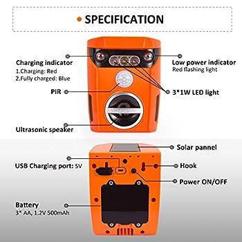 Répulsif Chat Ultrason Solaire Repulsif Chat, Outdoor Solaire Repulsif Chat étanche avec capteur de Mouvement PIR et LED Forte Flash Light - USB Rechargeable