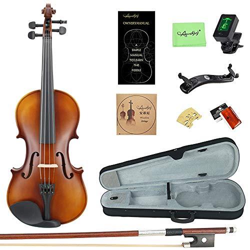 Esound 4/4 MP0013 Tiger Streifen Massivholz Schüler Violine mit Hartschalenkoffer, Schulterstütze, Bogen, Kolophonium und Zusätzliche Saiten (Volle Größe)