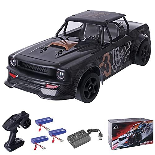 Mocdiy 2,4 GHz 4WD RC bil, fjärrstyrd racerbil, bil med belysning, dragracing-drift modell sportbil, elfordon för barn och vuxna