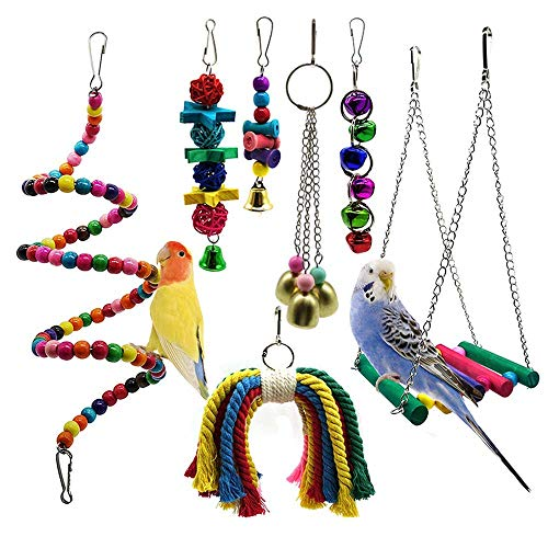 YSYDE huisdier vogel papegaai kooi speelgoed parkiet vogel speelgoed zitstokken schommelende vogels als heldere kleur de swing kooi speelgoed zijn kleurrijk en mooi de bel zal trekken uw vogels