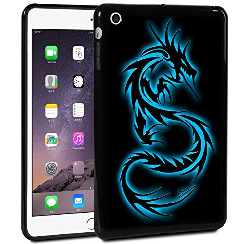 iPad Mini 1/2/3 Case,Rossy Shockproof Hard Shell Rubber Bumper Protective Case with Blue Dragon Pattern and Kickstand for Apple iPad Mini1/2/3 7.9-inch