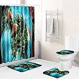 Alfombra antideslizante N/Z Ocean de tres piezas para baño, cocina, dormitorio, sala de estar, alfombra eBay, Ocean 081,50 cm x 80 cm, juego de tres piezas + 180 cm x 180 cm cortina de ducha