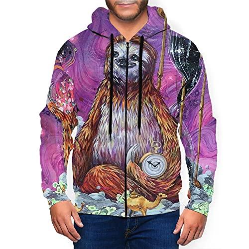 Sudadera con capucha para hombre con cremallera completa con capucha y diseño clásico con capucha, Time Sloth Sea Camel Negro, L