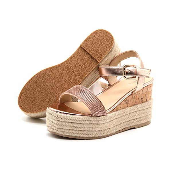 TRUFFLE Casual Low Mid Heel Flatform/Platform Wedge Sandals for Womens/Ladys with Open Toe Ankle Strap
