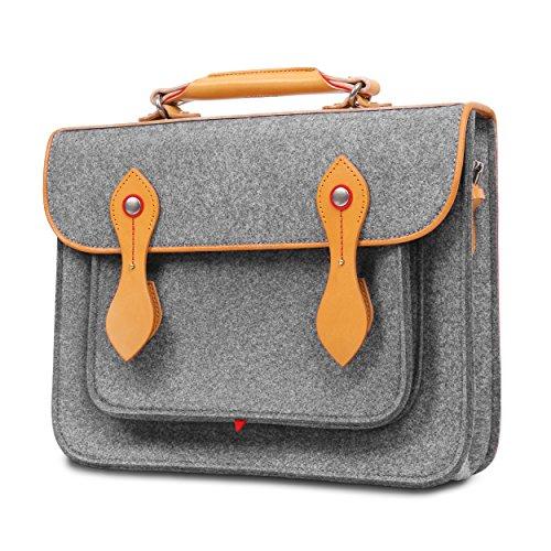 TOPHOME Laptop Case Business Office Bag Backpack Bookbags Messenger Bag Wool Felt Shoulder Strap Bag Leather Briefcase for 15.4 inch MacBook Notebook/Tablet/Acer/HP/Dell/Lenovo etc. (Grey)
