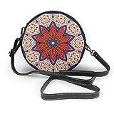 Patrón de adornos de alfombra para mujer, piel sintética, con cremallera, redondo, bolsa de hombro, bolso de mano, para trabajo, viajes, citas, personalizado.