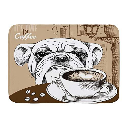 Fußmatten, braune Bulldogge Tasse Kaffee Hund Tiere Old Cappuccino Wildlife Food Drink Restaurant Hot Bean Frühstück, Küche Boden Bad Teppich Matte Saugfähig Indoor Badezimmer Dekor Fußmatte rutschfes