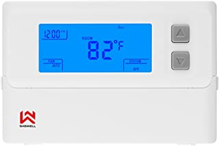 SASWELL Digital Non-Programmable Thermostat,1H/1C, T21STK-0 Digital Heat/Cool Pump Thermostats,24 Volt Single Stage Thermostat For Room