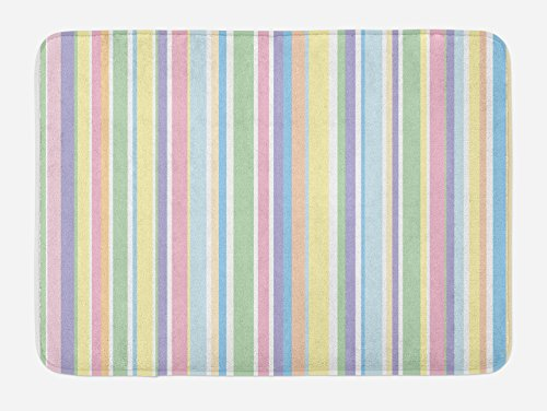 Ambesonne Pastel Bath Mat, Vertically Striped Pattern Different Colored Straight Lines Classical Old Fashioned, Plush Bathroom Decor Mat with Non Slip Backing, 29.5
