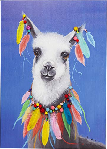 Kare Design Bild Touched Lama Pom Pom, XXL Leinwandbild auf Keilrahmen, Wanddekoration mit Lama, bunt (H/B/T) 100x70x4cm