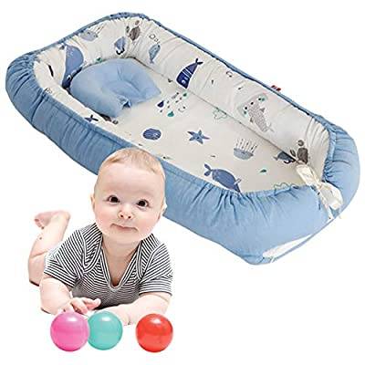 Brandream Baby Lounger Baby Nest Bed Double-Sided Portable Crib Cosleeper Cocoon Baby Lounger Baby Positoner Pot, Blue Ocean Whale
