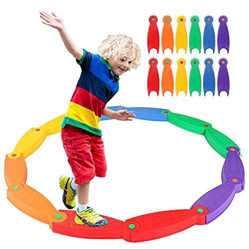 OMNISAFE 12 Pcs Stepping Stones for Kids, Wavy Circle Balance Beams, Obstacle Course Helps Build Coordination & Strength, Indoor & Outdoor Toy