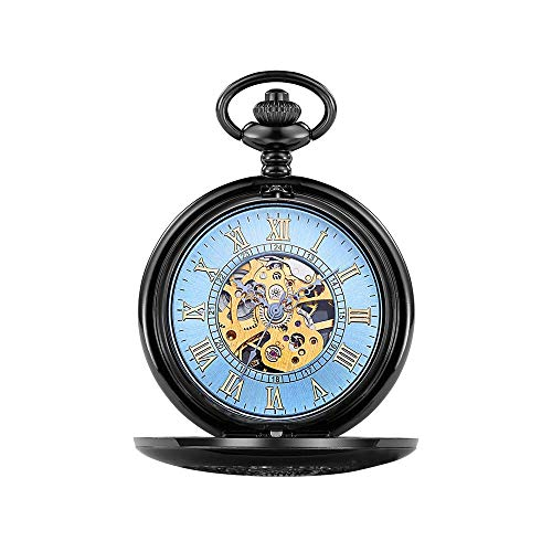 QZH Reloj de Bolsillo para Hombre Reloj de Bolsillo con Cadena Reloj de Bolsillo mecánico con Solapa clásico Reloj de Bolsillo Hueco Tallado Romano Reloj de Bolsillo Mecánico clás