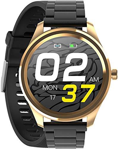 Gino Rossi Smartwatch, pulsera de fitness, reloj inteligente con podómetro, pulsómetro, cronómetro, para mujer y hombre, reloj deportivo para iOS y Android + pulsera adicional