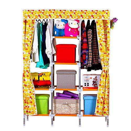 COLiJOL Armario Muebles de Dormitorio Portátiles Armario de Ropa Armario de Tela No Tejida Organizador de Alenamiento de Tela Plegable (Color: Flor Azul),Flor Amarilla